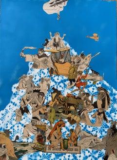 """""""Un Aviateur de Quinze Ans No.4"""" collages French comics in blue, tan, and white"""