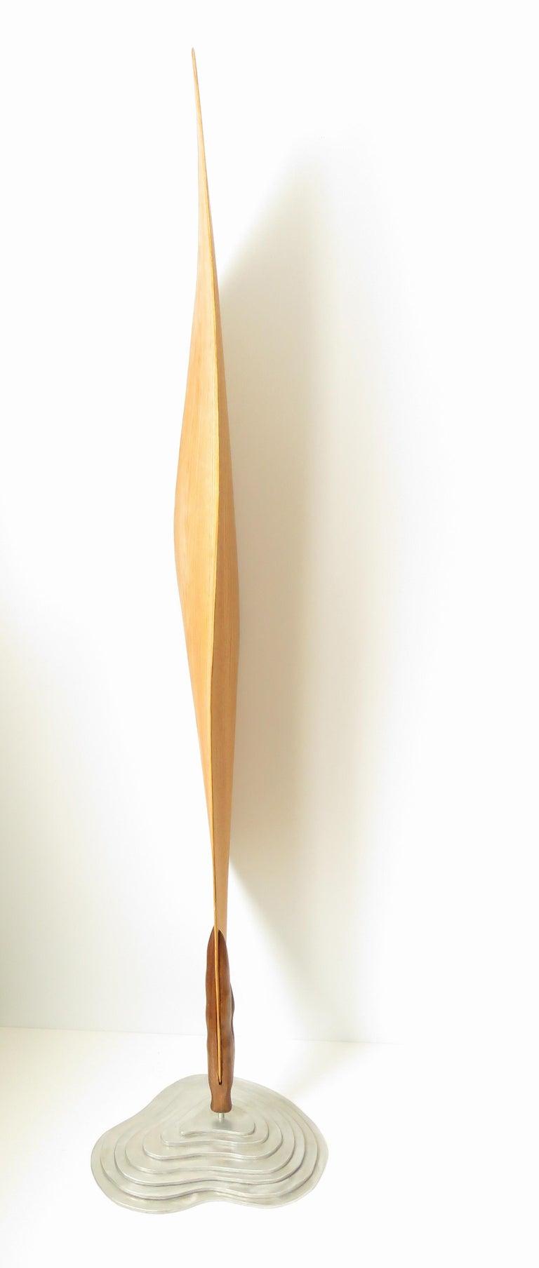 Cocoon (wood red oak bird abstract art zen sculpture pedestal minimal pea pod) - Minimalist Sculpture by Eric Tardif