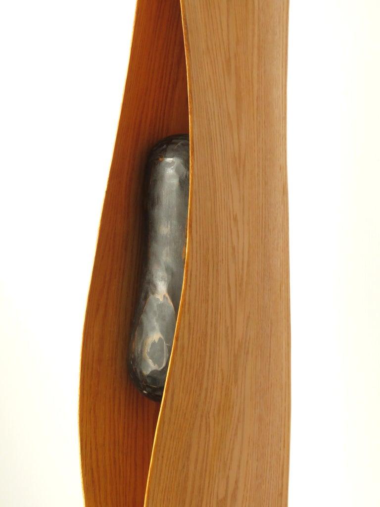 Cocoon (wood red oak bird abstract art zen sculpture pedestal minimal pea pod) - Brown Abstract Sculpture by Eric Tardif