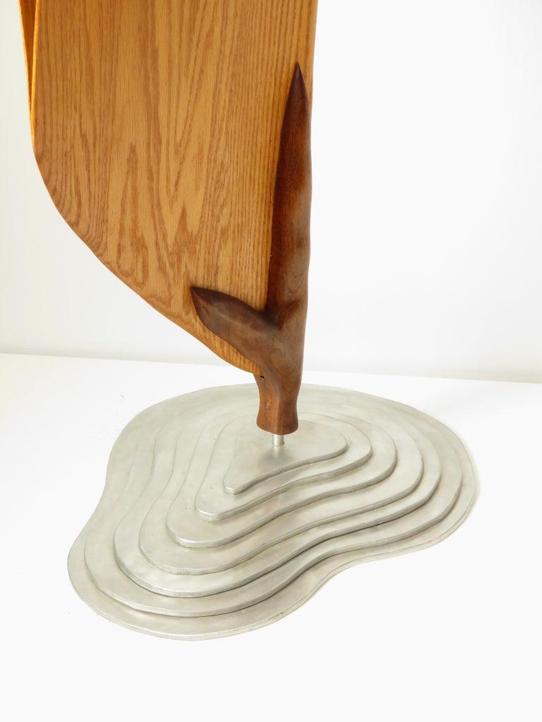 Cocoon (wood red oak bird abstract art zen sculpture pedestal minimal pea pod) - Sculpture by Eric Tardif