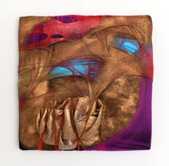 Wall Pillow 3 gold metallic fabric contemporary abstract painting textile art