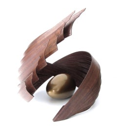 Inner Fragility (wood walnut bronze bird nest abstract art sculpture pedestal)