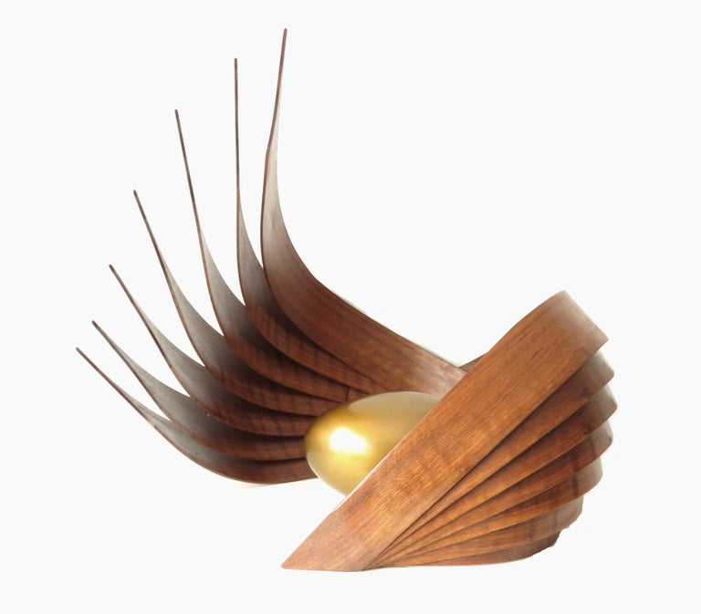 Inner Fragility (wood walnut bronze bird nest abstract art sculpture pedestal) - Minimalist Sculpture by Eric Tardif