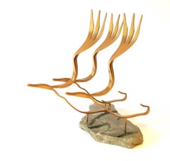 The Flight (wood bronze bird abstract art marble zen sculpture pedestal bird)