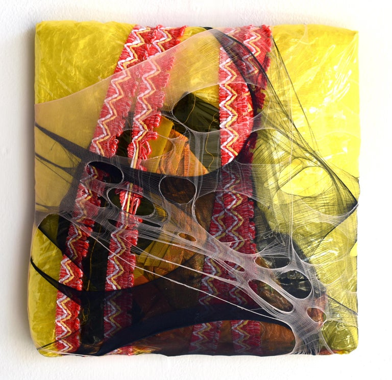 Wall Pillow 9 yellow black puffy fabric abstract painting contemporary wall art - Mixed Media Art by Anna-Lena Sauer