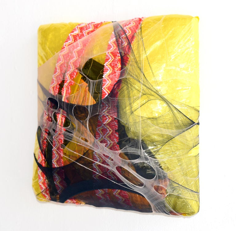 Wall Pillow 9 yellow black puffy fabric abstract painting contemporary wall art - Contemporary Mixed Media Art by Anna-Lena Sauer