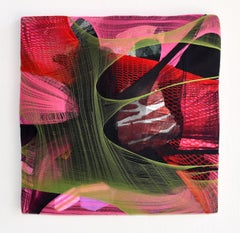 Wall Pillow 1 red abstract fabric painting pink contemporary wall sculpture