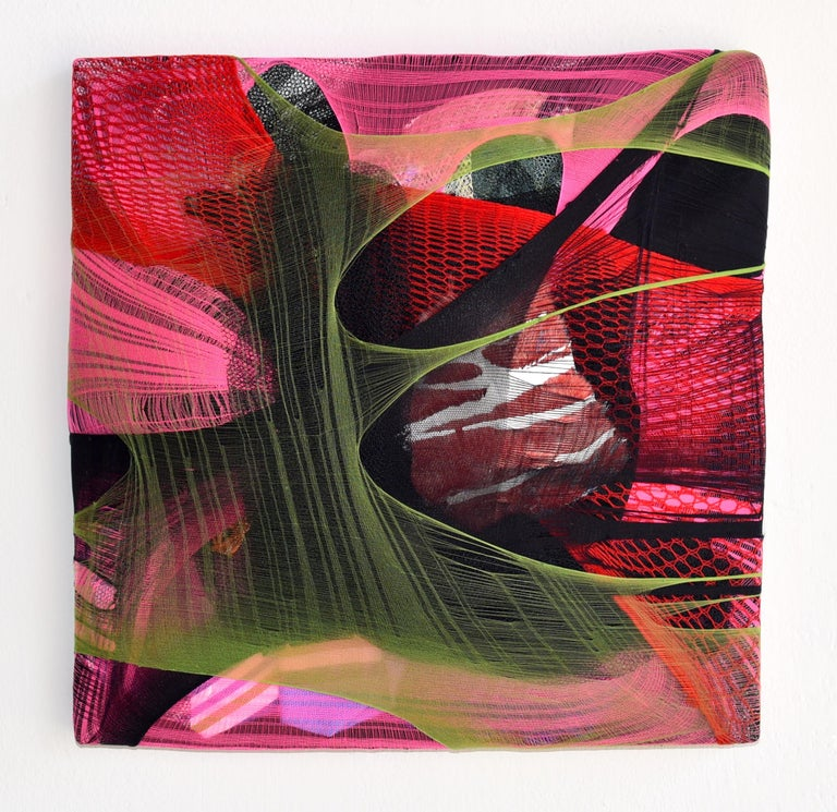 Wall Pillow 1 red abstract fabric painting pink contemporary wall sculpture - Mixed Media Art by Anna-Lena Sauer