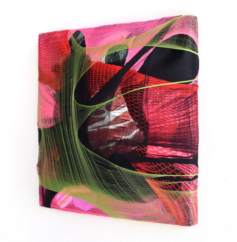Wall Pillow 1 red abstract fabric painting pink contemporary wall sculpture - Contemporary Mixed Media Art by Anna-Lena Sauer
