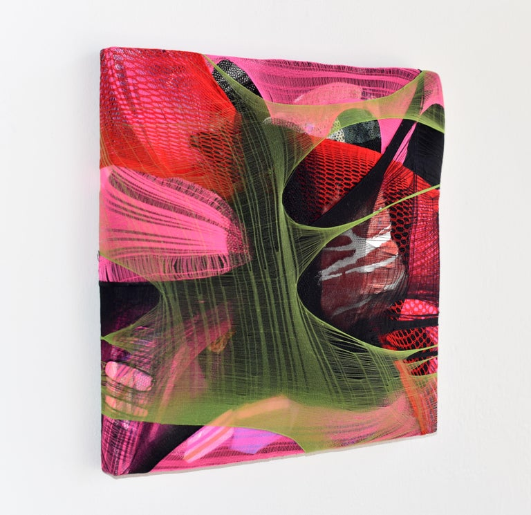 Wall Pillow 1 is an abstract wall sculpture made with nylon, fabric scraps and acrylic paint on canvas. Multiple layers of fabric, that serves as a substitute for paint, creating an intense illusion of space with an ambiguous foreground and