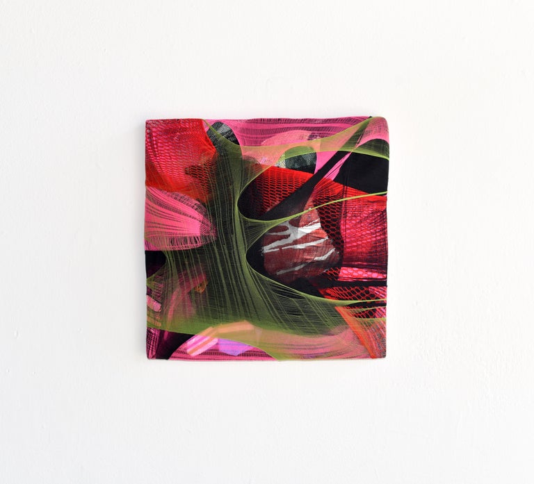 Wall Pillow 1 red abstract fabric painting pink contemporary wall sculpture For Sale 2