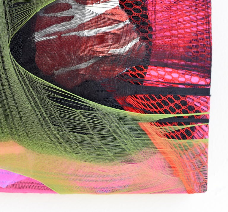 Wall Pillow 1 red abstract fabric painting pink contemporary wall sculpture For Sale 1