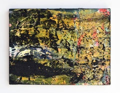 Burn Gold (yellow black scraped abstract painting Gerhard Richter process based)