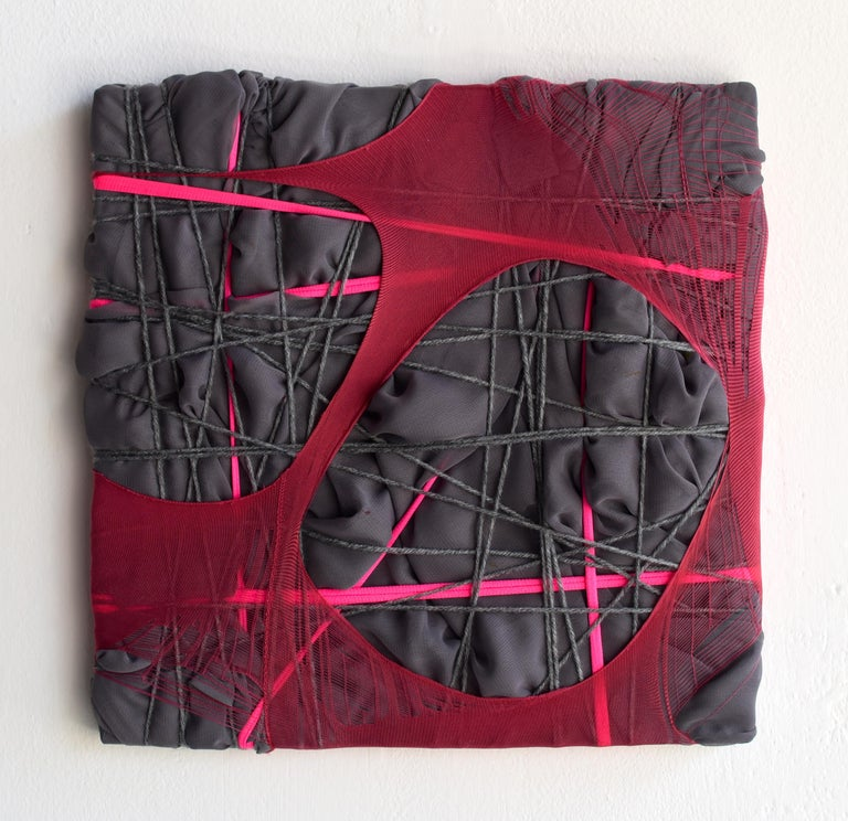 Anna-Lena Sauer Abstract Sculpture - Nylon Painting 28 fabric abstract wall sculpture textile based painting grid
