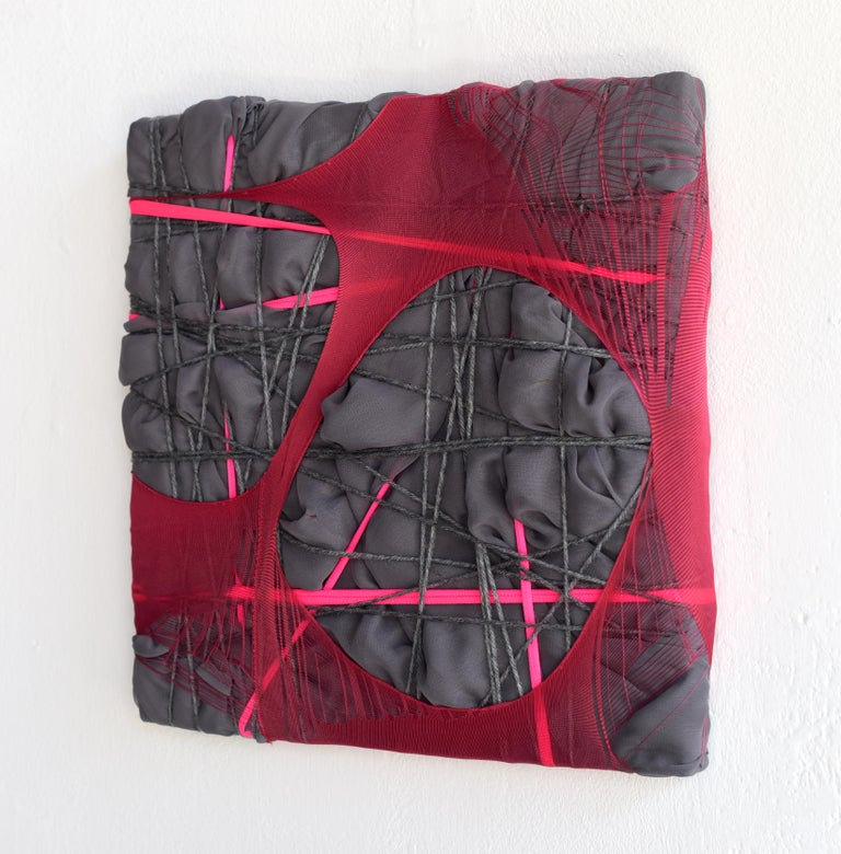 Nylon Painting 28 fabric abstract wall sculpture textile based painting grid - Sculpture by Anna-Lena Sauer
