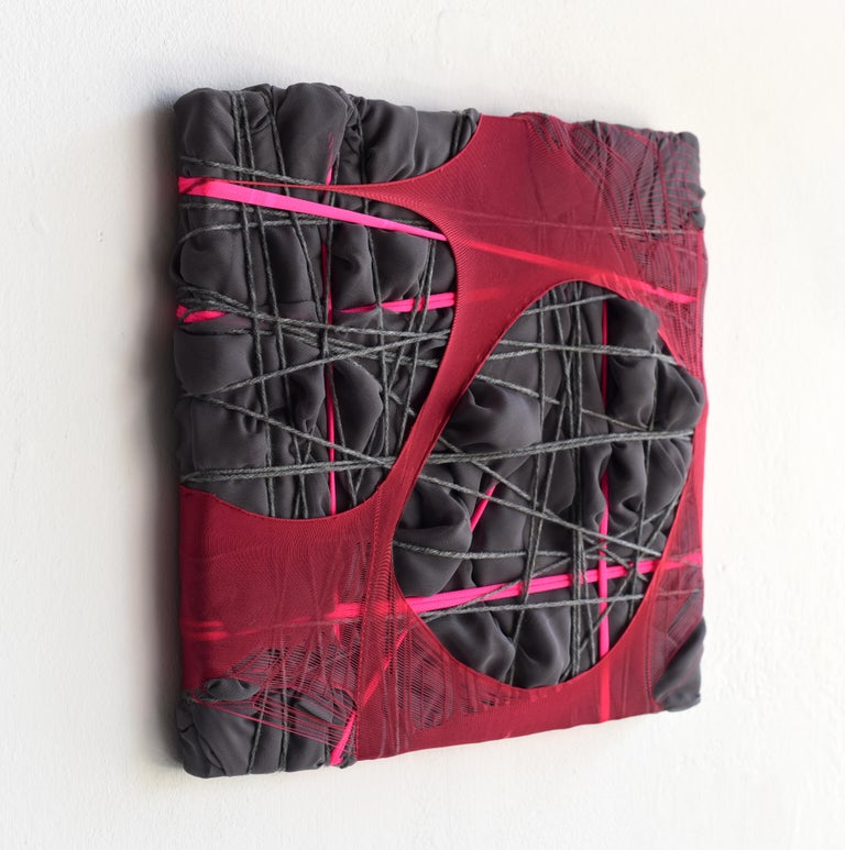 Nylon Painting 28 fabric abstract wall sculpture textile based painting grid - Contemporary Sculpture by Anna-Lena Sauer