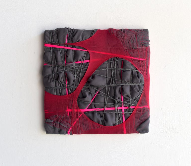Nylon Painting 28 fabric abstract wall sculpture textile based painting grid - Black Abstract Sculpture by Anna-Lena Sauer