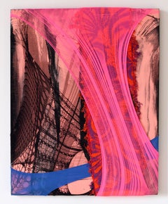 Nylon Painting 32 abstract textile painting fabric mixed media, pink painting