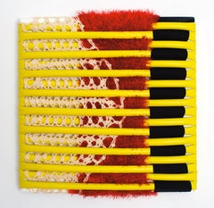 Untitled 1 (yellow, red, black, fabric wall art, abstract sculpture, stripes)