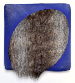 Soft Oval (abstract fabric wall sculpture, textile painting, blue faux-fur art)