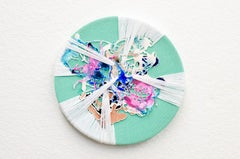 Spinning (fiber art, embroidery, textile art, tondo, pastel colours, round art)