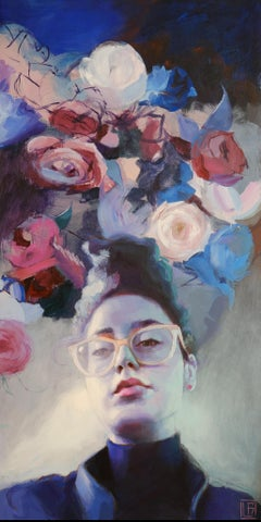 Aptekareva (girl portrait oil painting abstract figurative pink glasses flowers