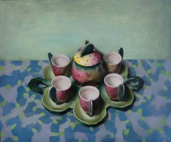 The Gathering (oil painting contemporary realism still life green tea cups)