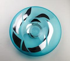 Sun Dances on Water (decorative wall plate aqua silver blown glass design craft)