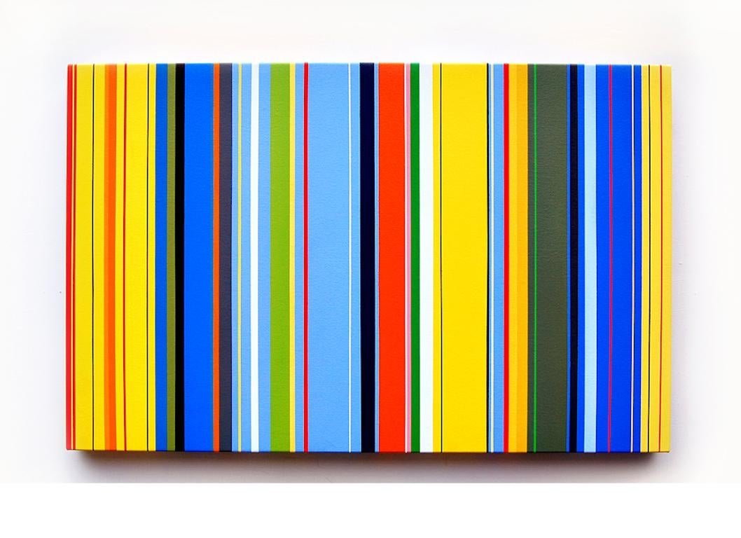 Lunar Crickets (vibrant stripes painting hard edge modern yellow lines blue)