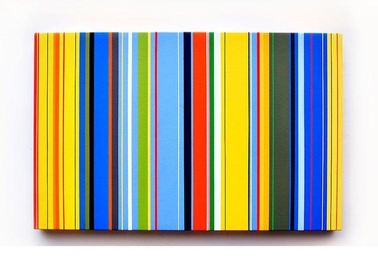 Lunar Crickets (vibrant stripes painting hard edge modern yellow lines blue) - Art by Kurt Herrmann