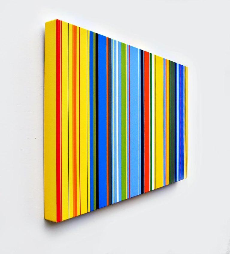 Lunar Crickets (vibrant stripes painting hard edge modern yellow lines blue) - Hard-Edge Art by Kurt Herrmann