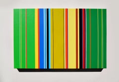 The Katydids Rush Me (vibrant stripes painting hard edge modern colourful green)