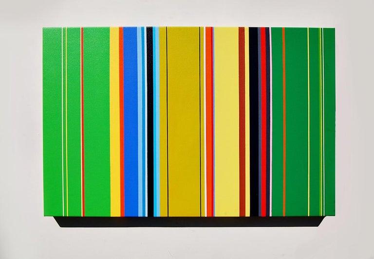 The Katydids Rush Me (vibrant stripes painting hard edge modern colourful green) - Art by Kurt Herrmann