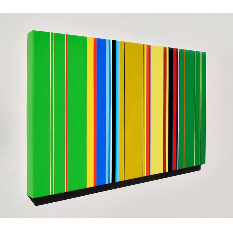 The Katydids Rush Me (vibrant stripes painting hard edge modern colourful green) - Hard-Edge Art by Kurt Herrmann