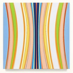 Pumpkinseed (pastel minimalist abstract hard-edge square painting striped canvas