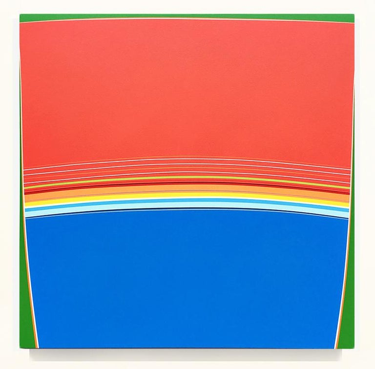 Kurt Herrmann Abstract Painting - Blue Fin Sunset (red blue minimalist abstract hard-edge square painting stripes)
