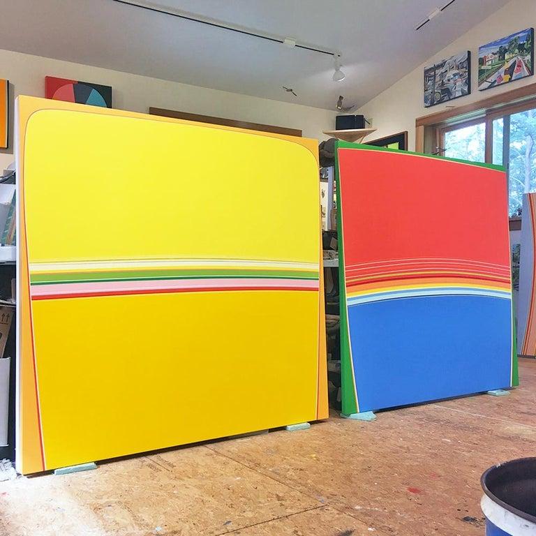 Blue Fin Sunset (red blue minimalist abstract hard-edge square painting stripes) - Minimalist Painting by Kurt Herrmann