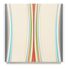 Koko 2 (neutrals beige minimalist abstract hard-edge square painting stripes)