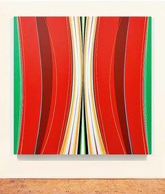 Rojo Silencio 2 (red minimalist abstract hard-edge geometric painting striped)