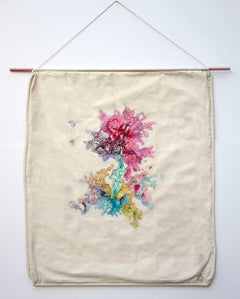 She of Life (fiber art, embroidery, textile art, wall hanging, pastel colours)