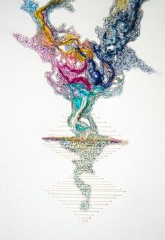 In Balance (fiber art, textile art, paper embroidery, pastel colours)