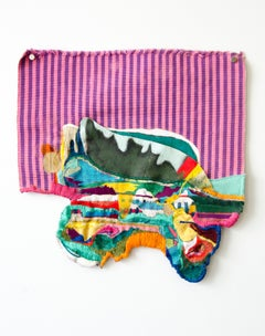 Clusterfunk (folk, embroidery, textile art, wall hanging, pink)