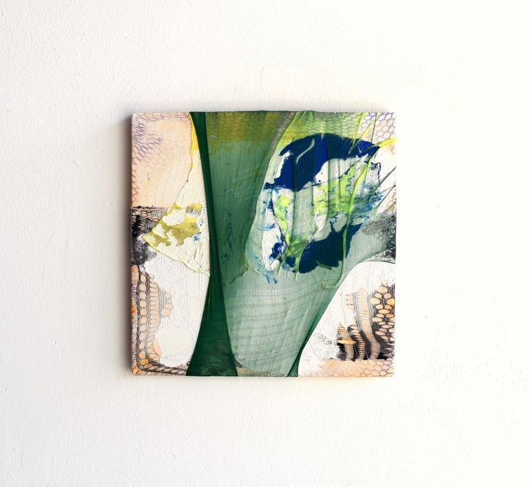 Nylon Painting 14 (textile art, green, abstract painting, textured wall art) For Sale 1