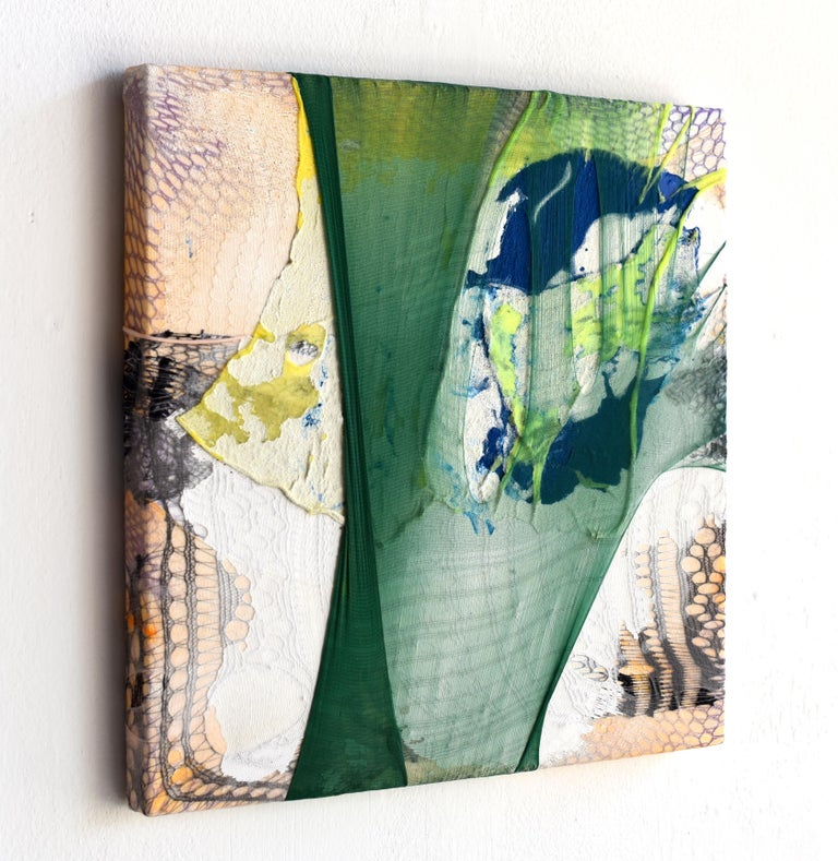 Nylon Painting 14 (textile art, green, abstract painting, textured wall art) - Contemporary Mixed Media Art by Anna-Lena Sauer
