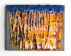 Material Painting 6 (abstract painting, contemporary, orange, blue, textile art)