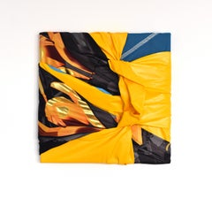 Superhero 2 (abstract textile painting, fabric wall art, wall sculpture, orange)