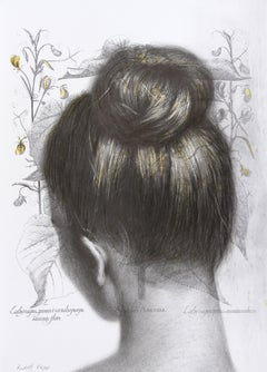 Abutilon  Auicennae (drawing paper vintage girl chignon portrait hair bun neck)