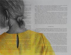 Yellow Blouse (drawing paper vintage girl back portrait hair yellow article)