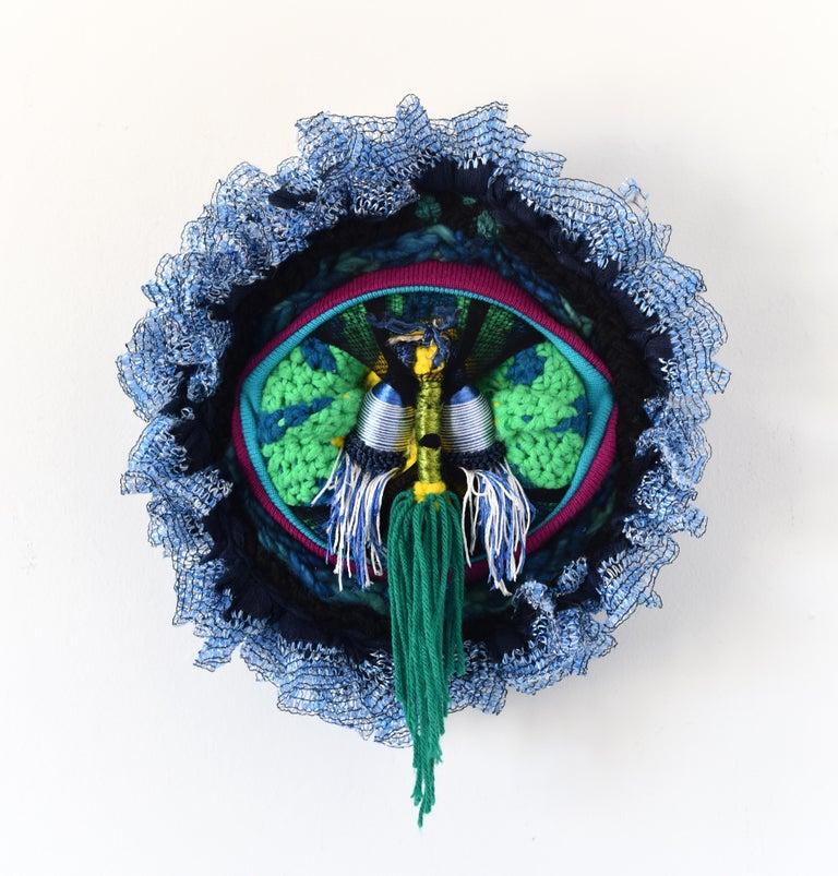 Der Nachtwächter (round circular art mixed media abstract wall sculpture fabric) - Mixed Media Art by Anna-Lena Sauer