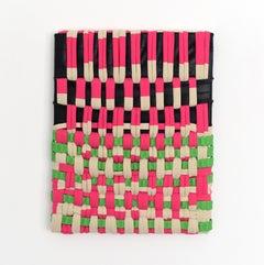 Irregular Patters 2 (red black green fabric wall art abstract sculpture grid)